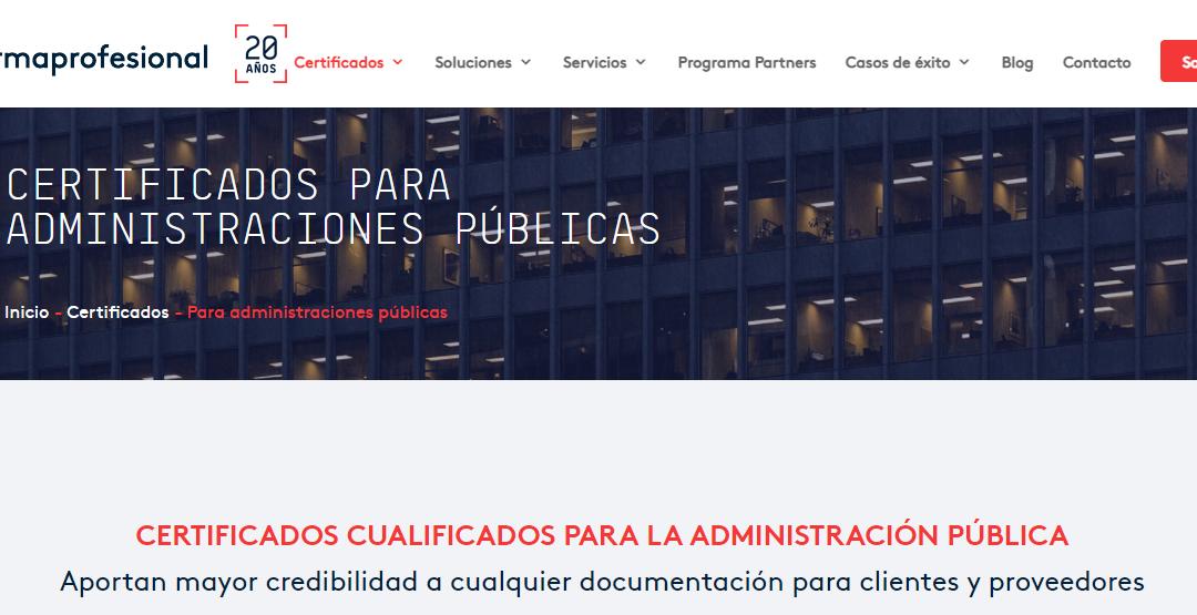 Firmaprofesional - Certificado para Administraciones Públicas